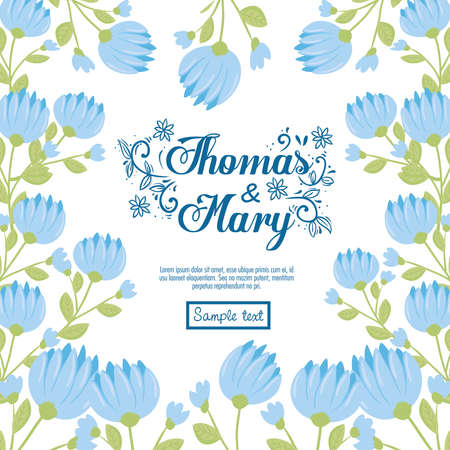 Wedding invitation with blue flowers and leaves design, Save the date and engagement theme Vector illustration