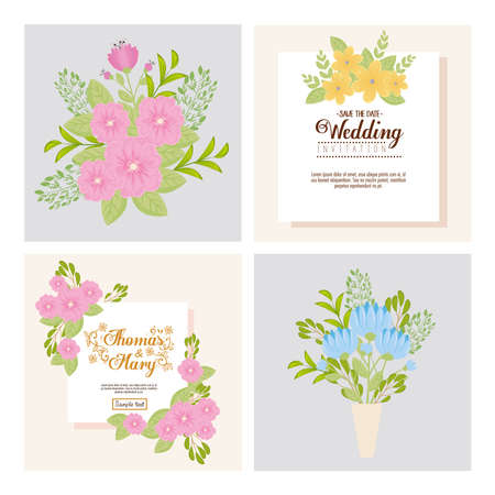 Wedding invitations set with flowers and leaves design, Save the date and engagement theme Vector illustration Illustration
