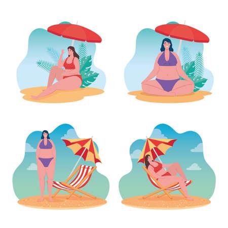 set summer scenes, cute plump women using swimsuit, women in the beach, summer vacation season vector illustration design Ilustracja