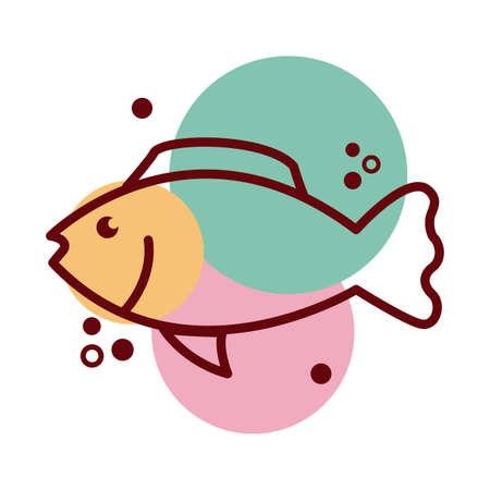 fish sea animal line and color style icon vector illustration design