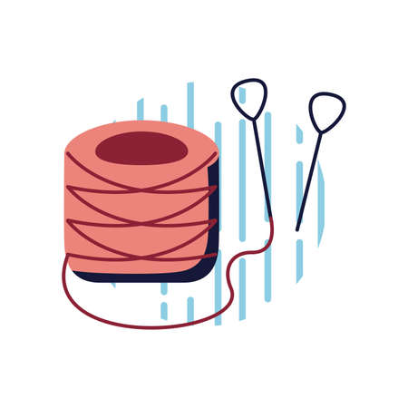 Thread with needles flat style icon design, Sewing tailor and shop theme Vector illustration