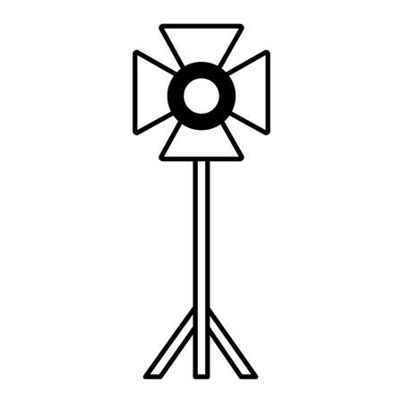 standing strobe tripod electrical spotlights professional vector illustration Vectores