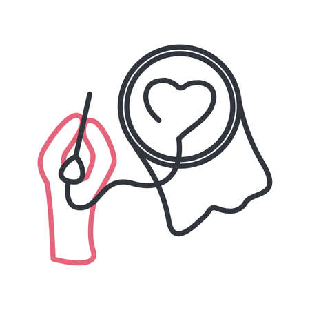 Hand with thread and needle doing heart line style icon design, Sewing tailor and shop theme Vector illustration Vettoriali