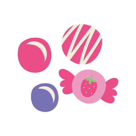 sweet candies strawberry isolated icon vector illustration design