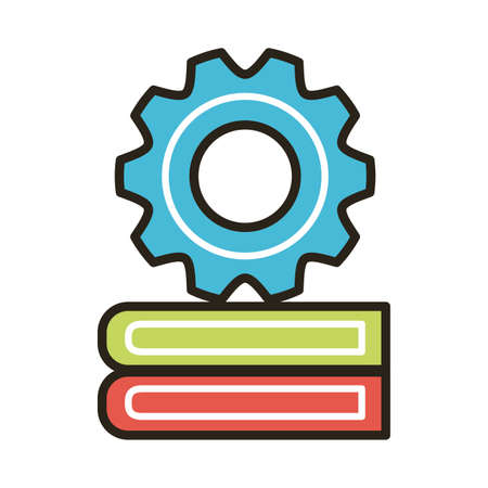 pile electronic books with gear education online line and fill style vector illustration design