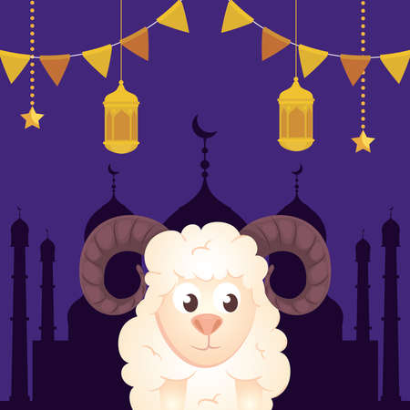 eid al adha mubarak, happy sacrifice feast, goat with lanterns and garlands hanging vector illustration design Vettoriali