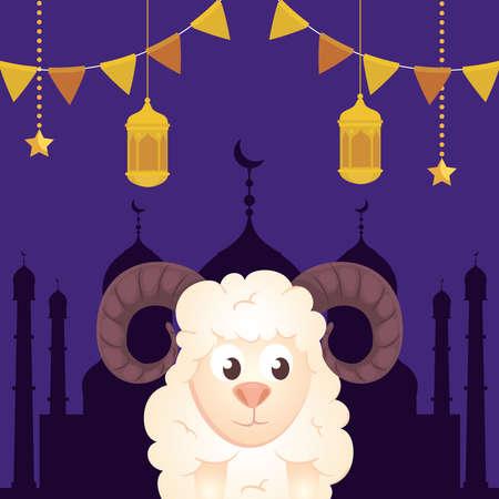 eid al adha mubarak, happy sacrifice feast, goat with lanterns and garlands hanging vector illustration design Vetores