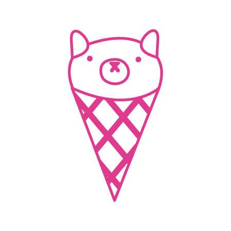 cute little cat in ice cream cone vector illustration design