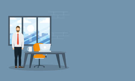 Businessman with laptop on desk in front of window design, Office business management and corporate theme Vector illustration