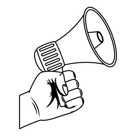 hand with megaphone sound device vector illustration design