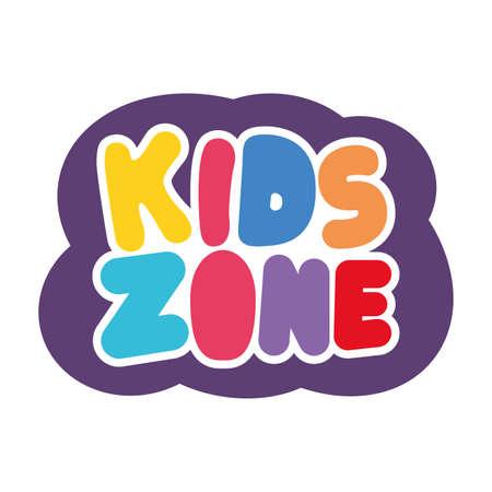 kids zone lettering label icon vector illustration design Ilustracja