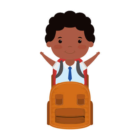 cute little student afro boy with schoolbag character vector illustration