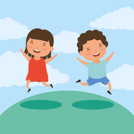 couple of little kids in the field vector illustration design