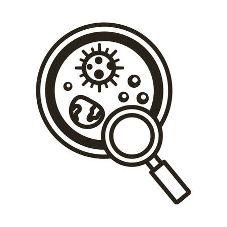 bacteria culture with magnifying glass line style icon vector illustration design
