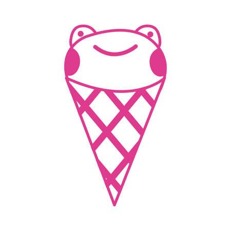 cute little frog in ice cream cone vector illustration design Ilustrace