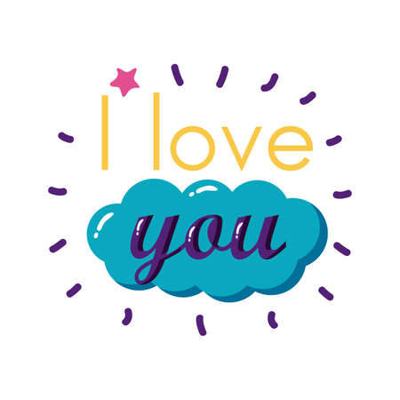 I love you text with cloud flat style icon design of Passion and romantic theme Vector illustration