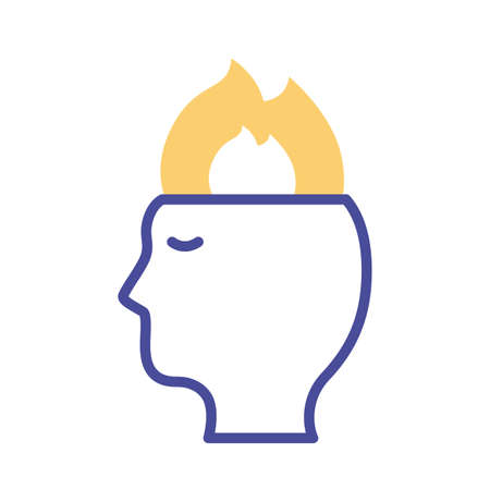 profile with flame mental health line style icon vector illustration design