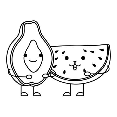 fresh watermelon and papaya characters vector illustration design Ilustração