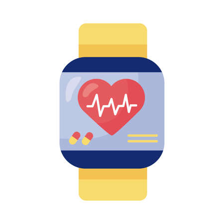 smartwatch with heart cardio health online detail style vector illustration design