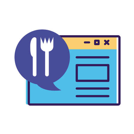 template webpage with speech bubble and cutlery delivery service line and fill style vector illustration design Illustration
