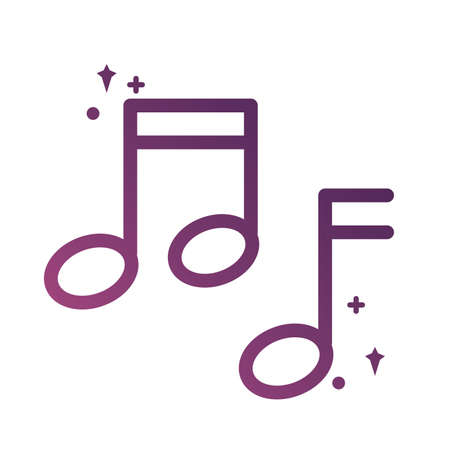 music note sound line degradient style icon vector illustration design