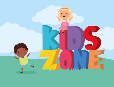 kids zone with interracial children group in the field vector illustration design