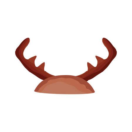 horns reindeer flat style icon vector illustration design
