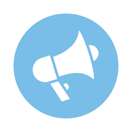 megaphone sound device block style icon vector illustration design