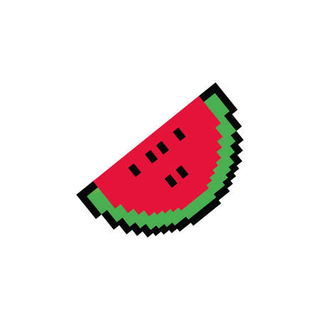 watermelon fruit 8 bits pixelated style icon vector illustration design