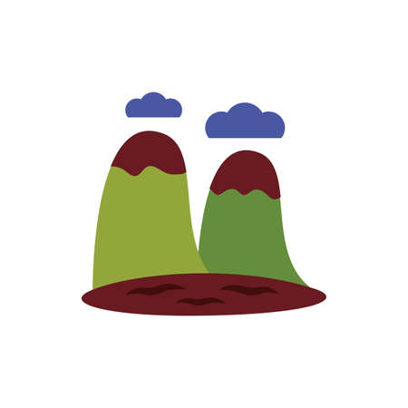 mountains with snow flat style icon vector illustration design