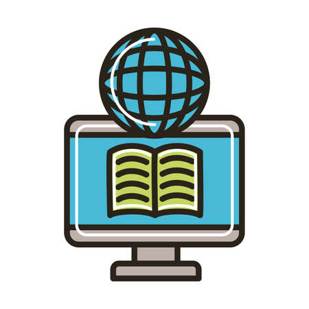 electronic book in desktop and browser education online line and fill style vector illustration design