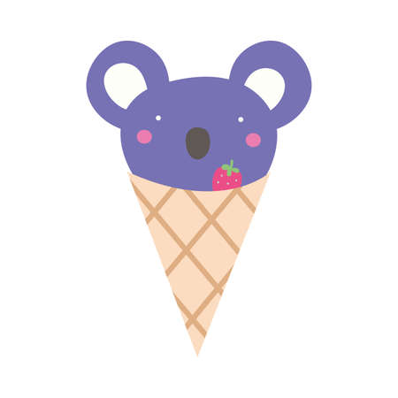 cute koala in ice cream cone vector illustration design