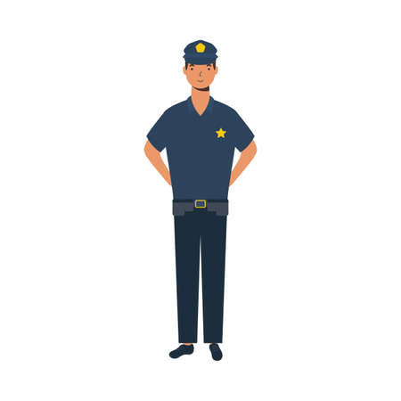 police man design, Workers actions working occupation jobs proffesional employee service and labor theme Vector illustration 일러스트