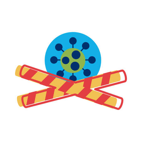 covid 19 particle with caution tapes flat style icon vector illustration design