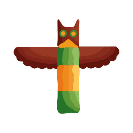 wooden owl canadian statue flat style vector illustration design