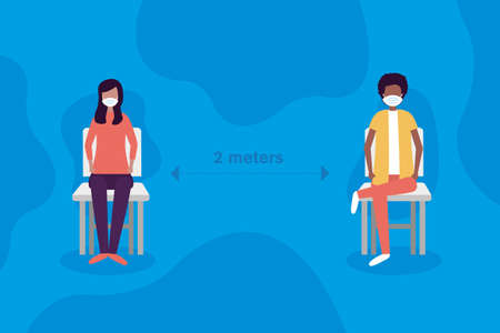 Social distancing between boy and girl with masks on chairs design of Covid 19 virus theme Vector illustration
