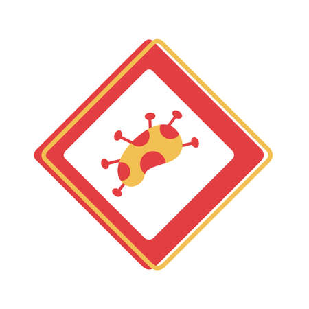 covid 19 particle caution signal flat style icon vector illustration design