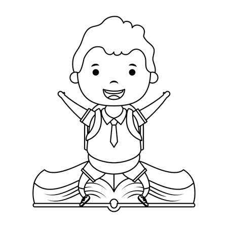 cute little student boy seated in book character vector illustration design