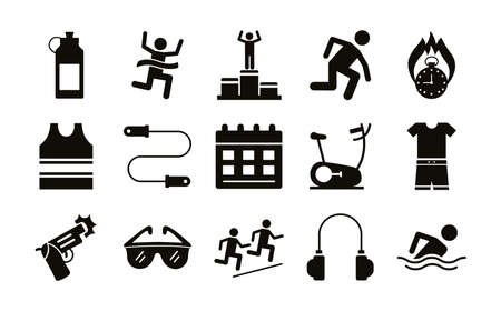 bundle of runners and tracks set icons vector illustration design 일러스트