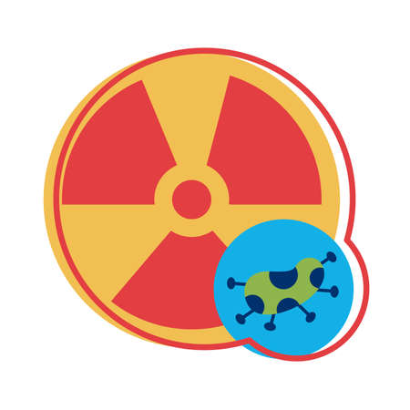 nuclear symbol with covid 19 particle flat style vector illustration design
