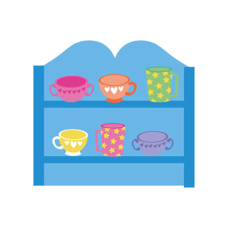 store wooden shelving with ceramics cups vector illustration design 矢量图像