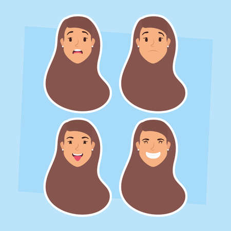 group of women heads and expressions vector illustration design