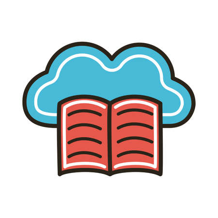 electronic book with cloud computing education online line and fill style vector illustration design