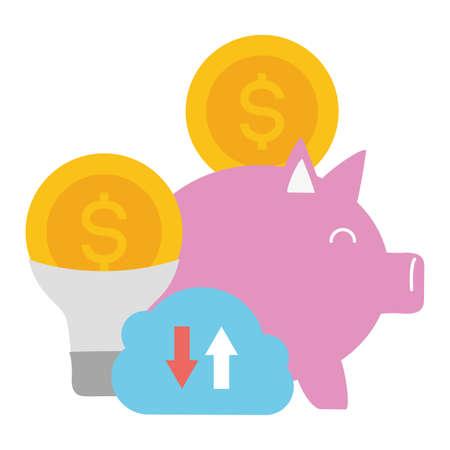 piggy bank bulb dollar money cloud storage online payment vector illustration