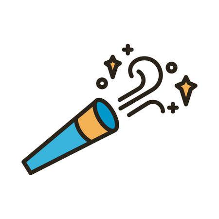 happy birthday cornet line and fill style icon vector illustration design
