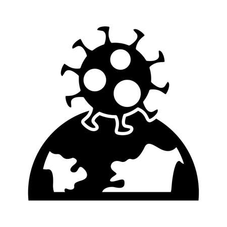 covid19 virus particle with earth planet silhouette style vector illustration design