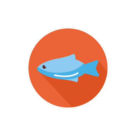 fish sea animal block style icon vector illustration design