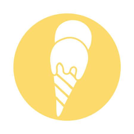 delicious ice cream block style icon vector illustration design