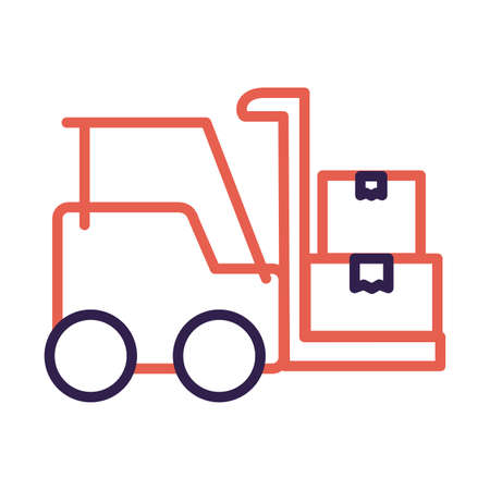 forklift vehicle service line style vector illustration design