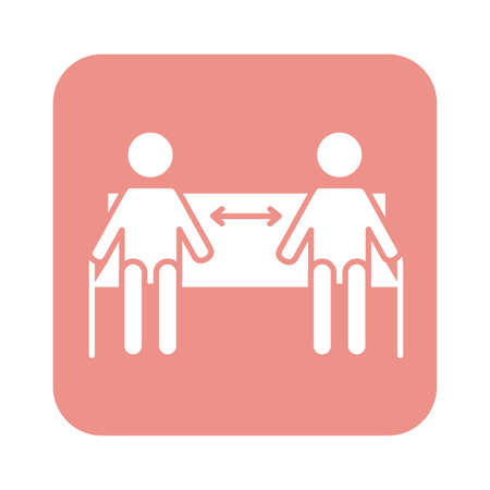 figures humans with arrows in park chair social distance line style vector illustration design